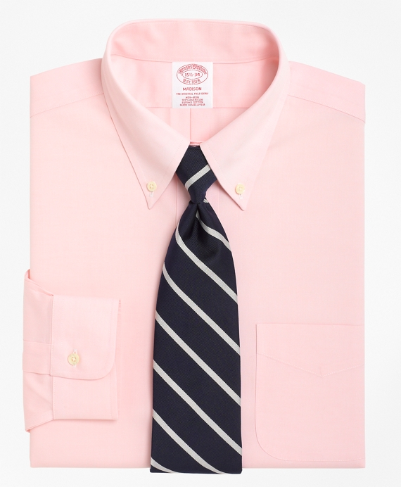 Non-Iron Regular Fit Button-Down Collar Dress Shirt Pink