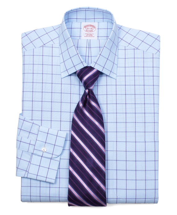 All-Cotton Non-Iron Traditional Fit Hairline Windowpane Dress Shirt Light Blue