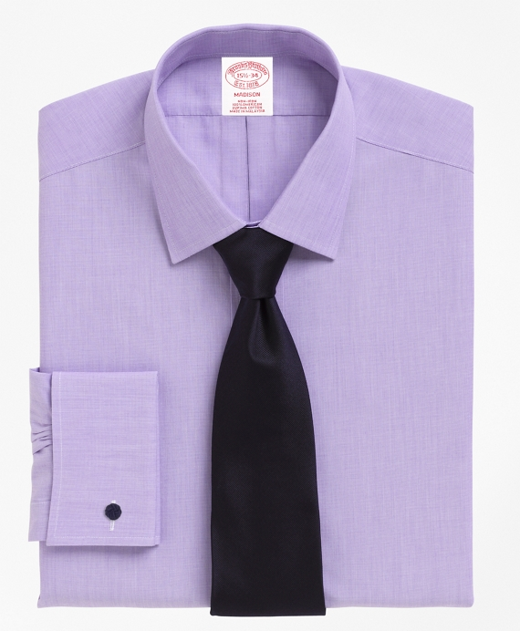 Non-Iron Regular Fit Spread Collar French Cuff Dress Shirt Purple