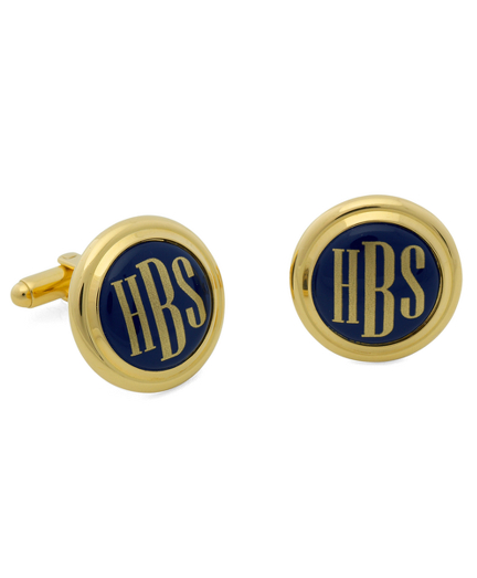 Gold and Blue Hand Painted Enamel Cuff Links