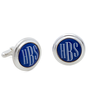 Silver and Blue  Hand Painted Enamel Cuff Links
