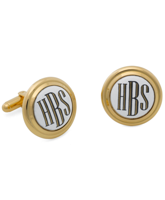 Gold and White Hand Painted Enamel Cuff Links