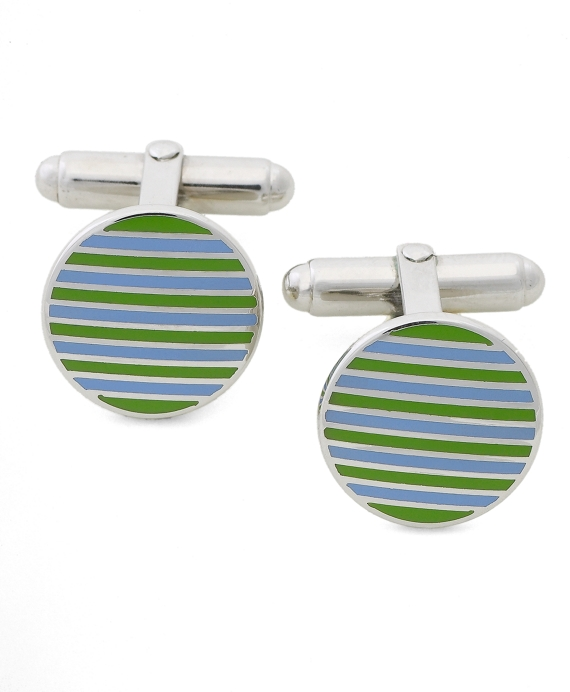 Circle Stripe Cuff Links Blue-Green