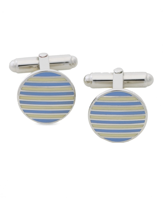 Circle Stripe Cuff Links Blue-Yellow