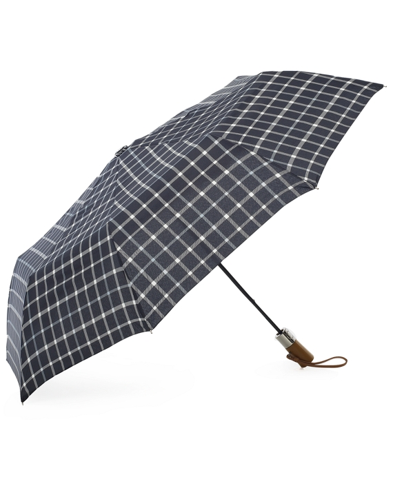 Tattersall Folding Umbrella Black-White