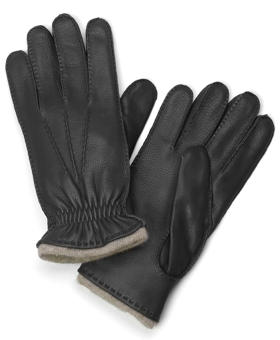 Deerskin Cashmere Lined Gloves Black