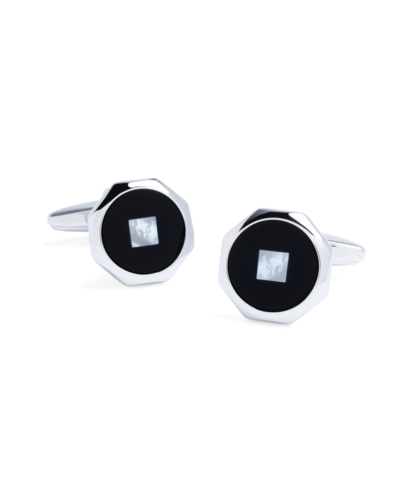 Onyx with Mother-of-Pearl Center Octagon Cuff Links As Shown