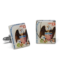 1975 Eagle Shield Stamp Cuff Links