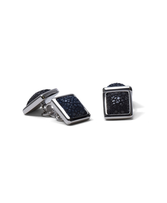 Stingray Leather Cuff Links Black-Grey