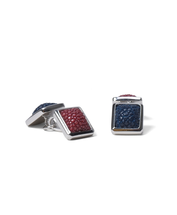 Stingray Leather Cuff Links Burgundy-Navy