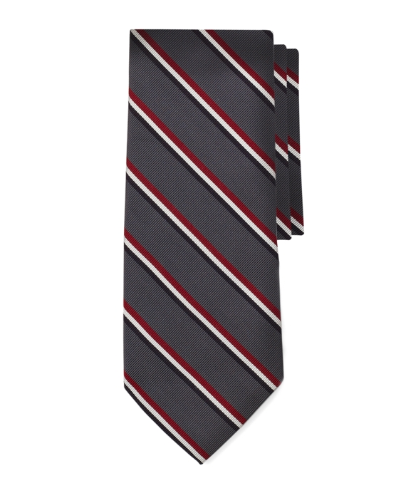 Black Fleece Stripe Tie Grey