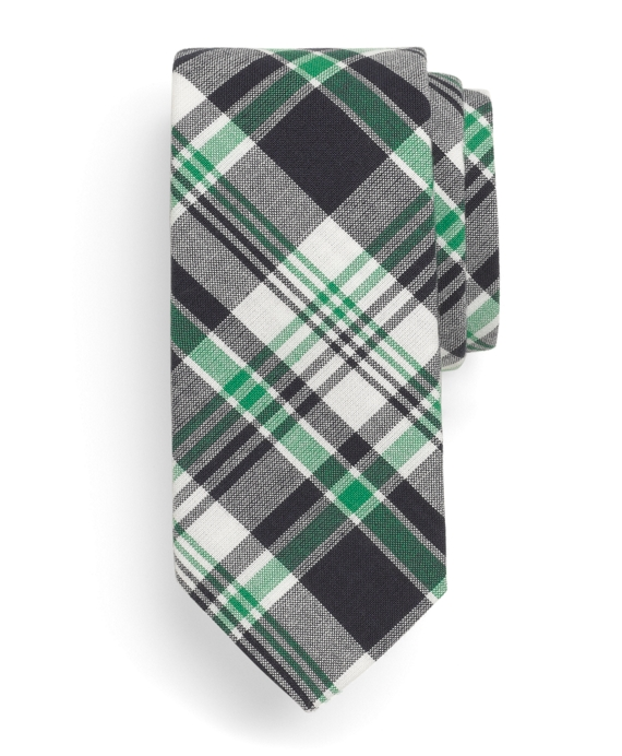 Navy, White and Green Madras Tie Multi