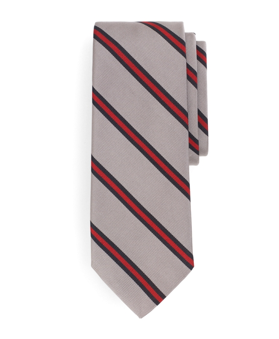 Thin Stripe Tie Dark Grey-Red-Navy