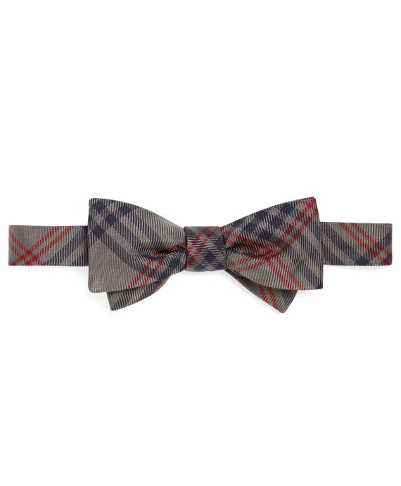 Large Plaid Bow Tie Grey-Navy-Red