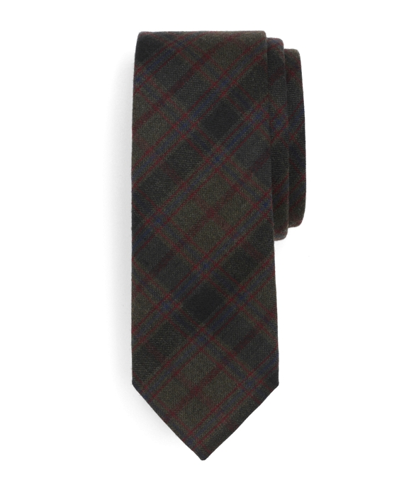Green Wool Plaid Tie Navy-Green