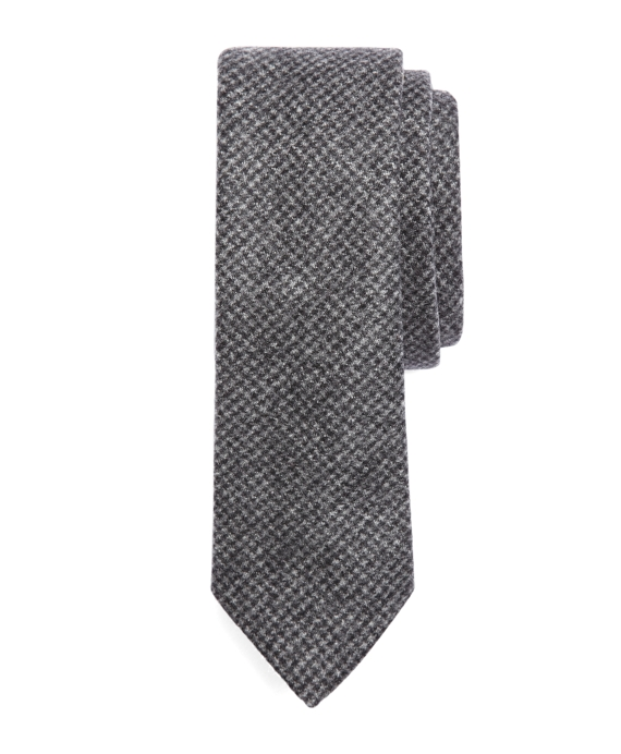 Wool Houndstooth Tie Grey-Black