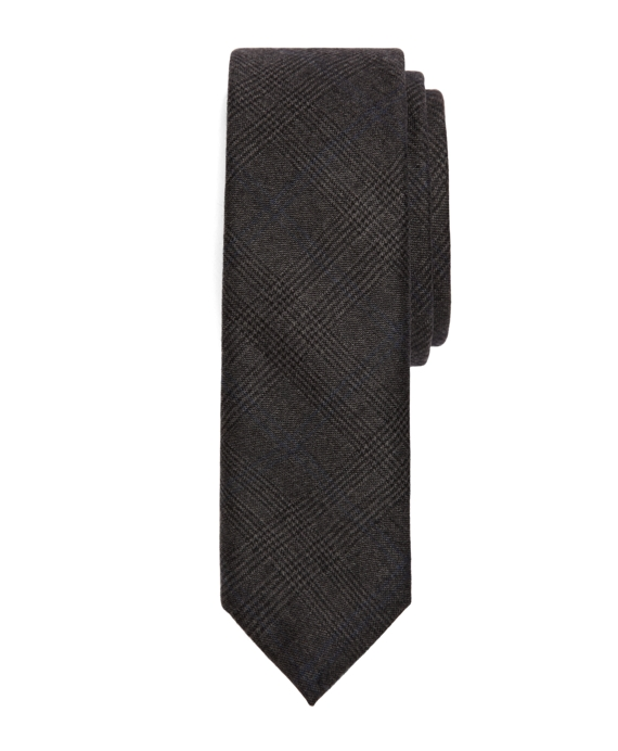 Brown, Grey and Blue Wool Plaid Tie Brown-Grey