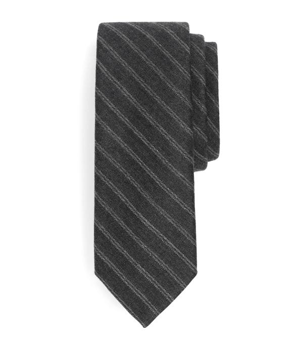 Herringbone Stripe Wool Tie Grey