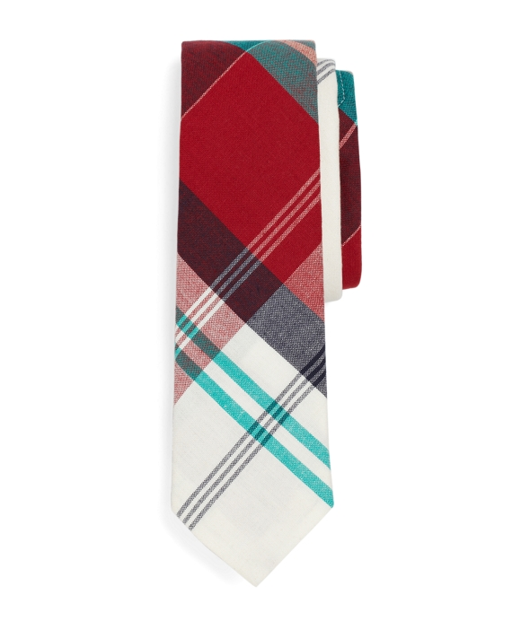 MADRAS LARGE PLAID TIE Red-Navy-Green