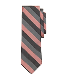 Grey and Pink Stripe Tie