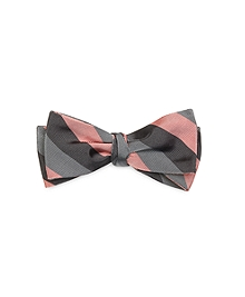 Grey and Pink Stripe Bow Tie