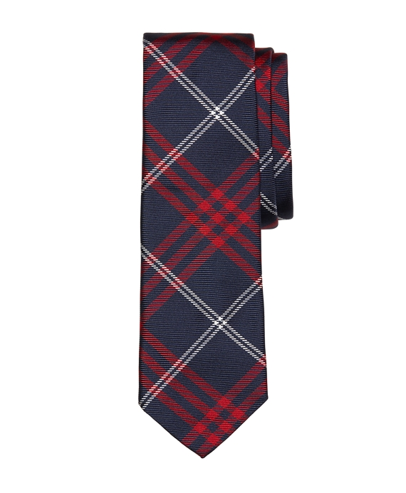 Red and Navy Plaid Tie Red-White-Navy