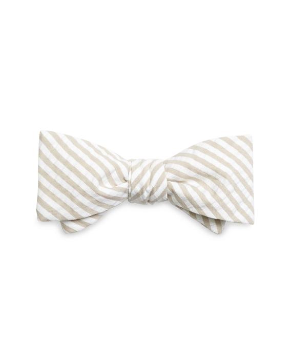 Tan Seersucker Bow Tie Tan
