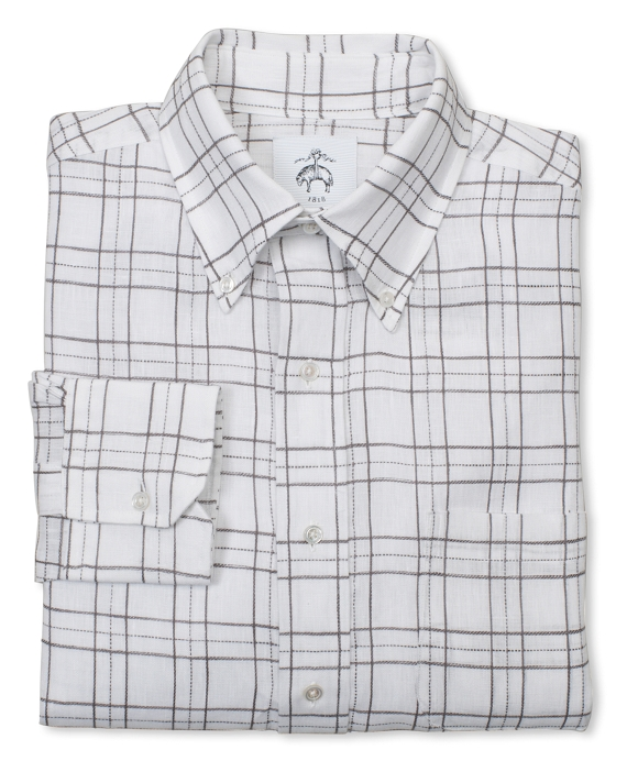 Long-Sleeve Button-Down Irish Linen Argyle Dress Shirt White