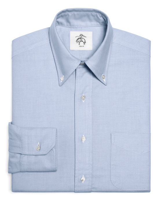 Black Fleece Oxford Button-Down Shirt with Stripe Detail Blue