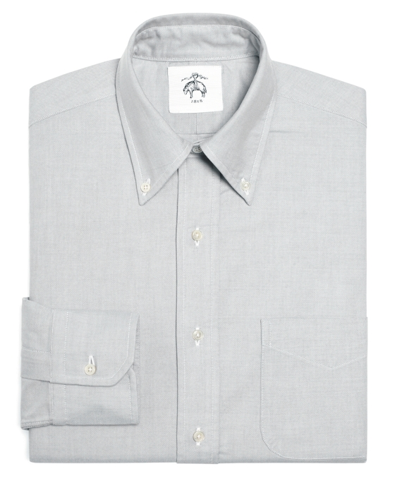 Black Fleece Oxford Button-Down Shirt with Stripe Detail Grey