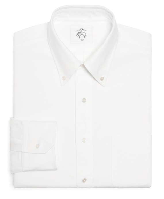 Black Fleece Oxford Button-Down Shirt with Stripe Detail White