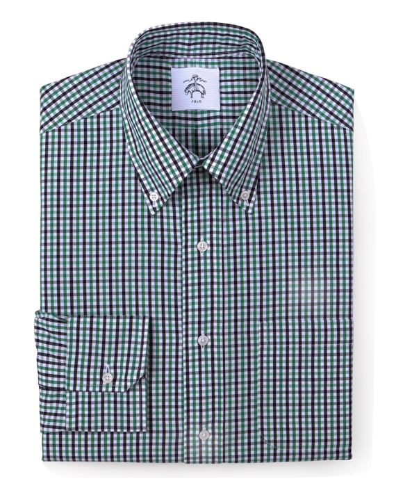 Gingham Oxford Button-Down Shirt Navy Multi