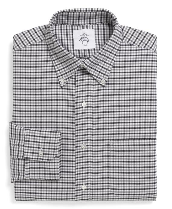 Gingham Oxford Button-Down Shirt Grey