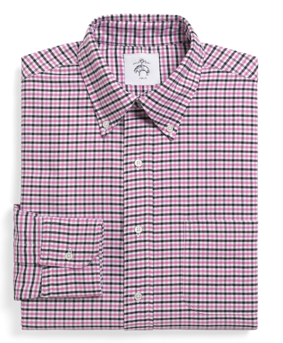 Gingham Oxford Button-Down Shirt Pink