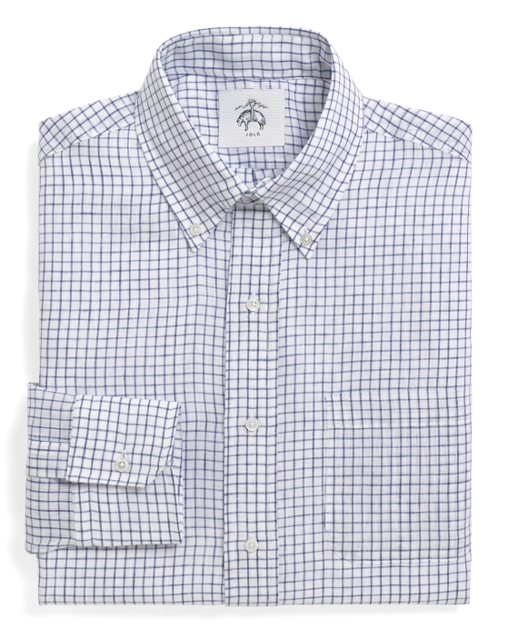Windowpane Linen Button-Down Shirt Blue
