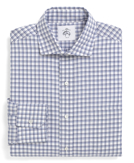 Shadow Grid Spread Collar Shirt Blue