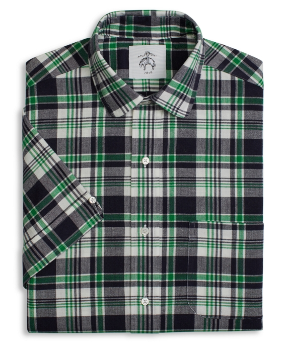 Madras Short-Sleeve Rounded Collar Shirt Green-Navy