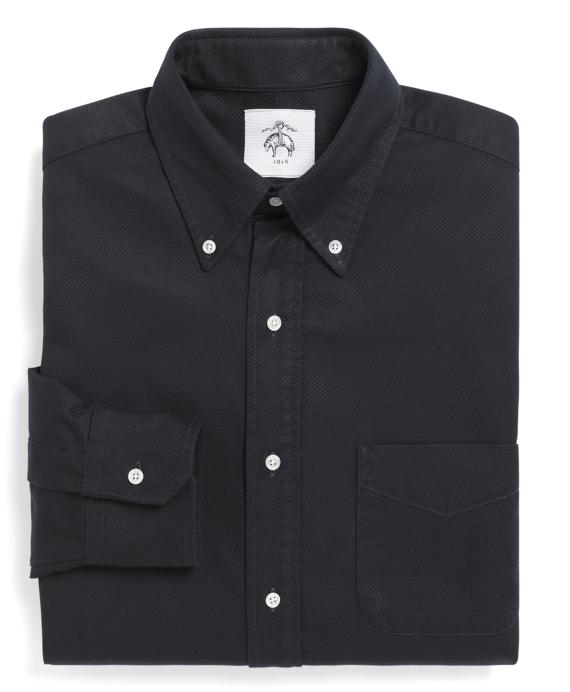 Cotton Pique Button-Down Shirt Navy