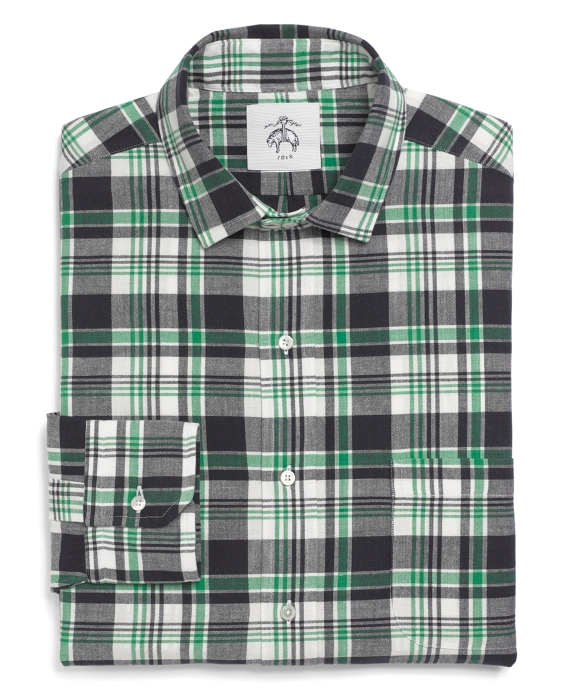 Madras Narrow Collar Shirt Green-Navy