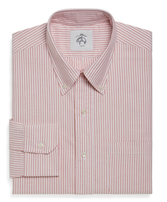 Bengal Stripe Oxford Button-Down Shirt Orange-White