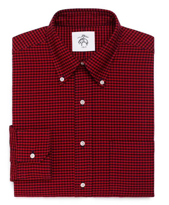 Gingham Oxford Button-Down Shirt Navy-Red
