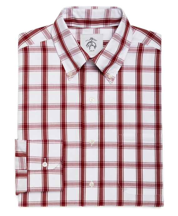 Men's White and Red Checkered Button-Down Shirt | Brooks Brothers