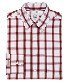 WHITE AND RED LARGE CHECK BUTTON-DOWN SHIRT