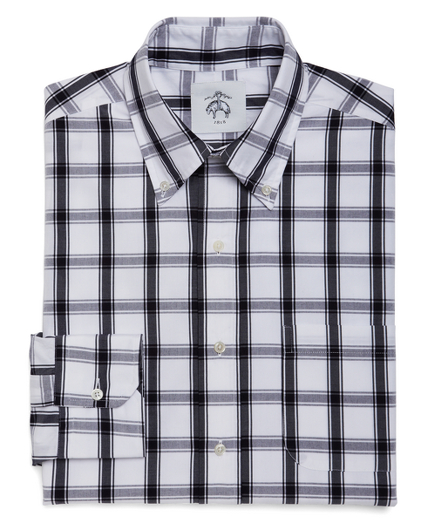 White and Navy Large Check Button-Down Shirt