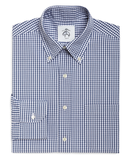 White and Blue Mini Gingham Button-Down Shirt