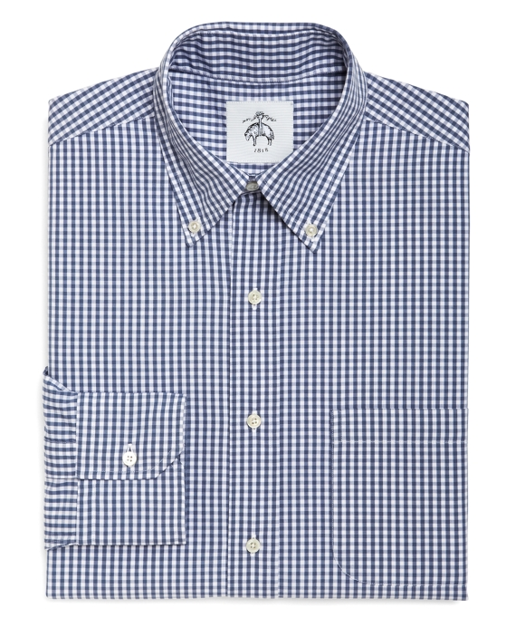White And Blue Mini Gingham Button Down Shirt Brooks