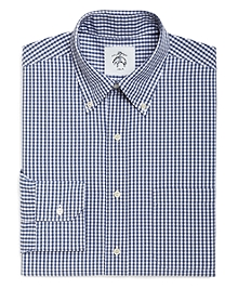 White and Blue Mini Gingham Button-Down Shirt