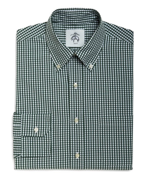 WHITE AND GREEN MINI GINGHAM BUTTON-DOWN SHIRT - Brooks Brothers
