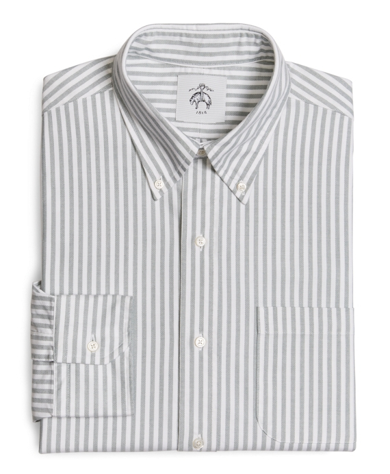 WHITE AND GREEN STRIPED BUTTON-DOWN SHIRT Green-White