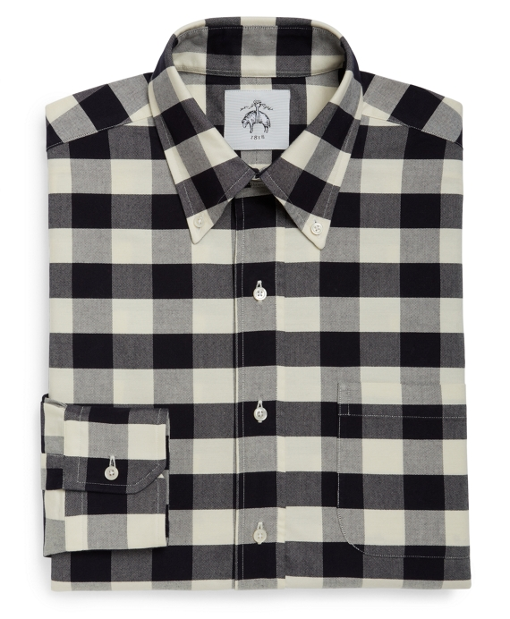 MAXI GINGHAM BUTTON-DOWN SHIRT Navy-Ecru